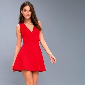 LULUS Red V-Neck Dress